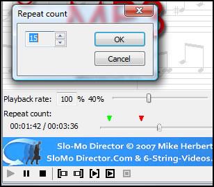 SloMoDirector main interface and loop counter